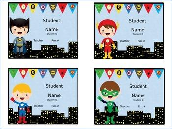 Superhero Editable Name Tags