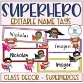 Superhero Editable Name Tags Desk Plates