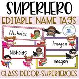 Superhero Editable Name Tags Desk Plates