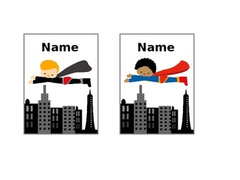 Superhero Editable Picture Name Cards