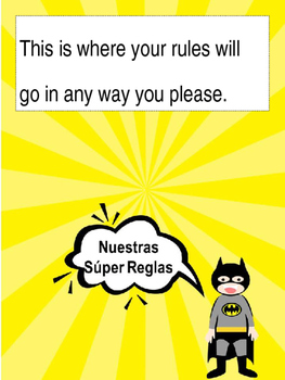 Superhero Editable Rules Post in English and Spanish
