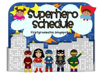 Superhero Editable Schedule Cards