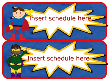 Superhero Editable Schedule Cards