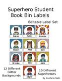 Superhero Editable book bin labels