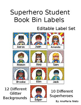 Superhero Editable book bin labels