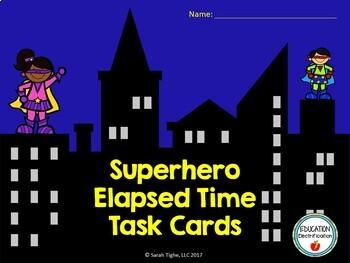 Superhero Elapsed Time Task Cards