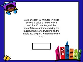 Superhero Elapsed Time Task Cards