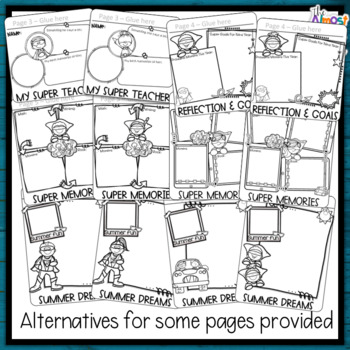 End of Year Memory Book 3rd Grade - A Superhero writing and craft flip book