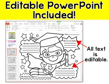 End of Year Activities: Superhero Graduate Write and Color Activity