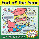 End of Year Activities: Superhero Graduate Write and Color