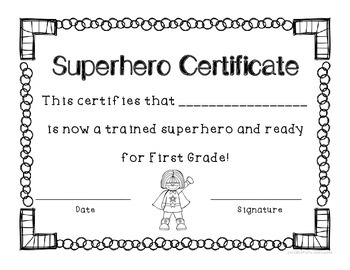 Superhero End of the School Year Certificates