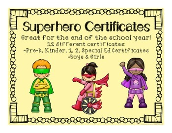 Superhero End of the School Year Certificates