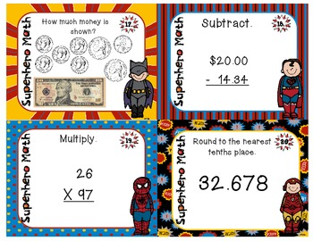 Superhero - End of the Year Math Task Cards
