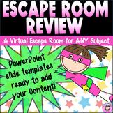 Superhero Digital Escape Room Review Virtual Breakout Game & Slideshow Template