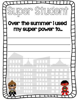 Superhero Fantasy Writing Sheet