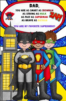 Superhero Father's Day or Other Favorite Male Card FREEBIE