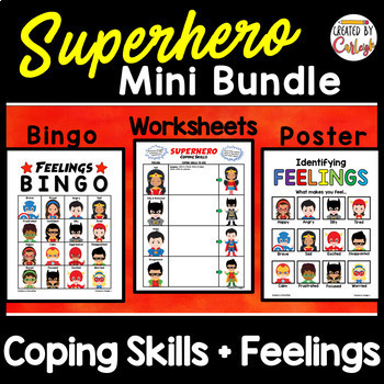 Feelings and Coping Skills Bundle - Superhero Themed