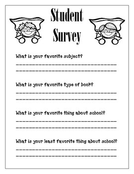 Superhero First Day of School Student Survey