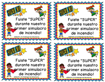 Superhero First Fire Drill Brag Tags - In English & Spanish