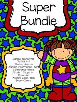 Superhero Forms, Newsletter, and Binder Cover Bundle