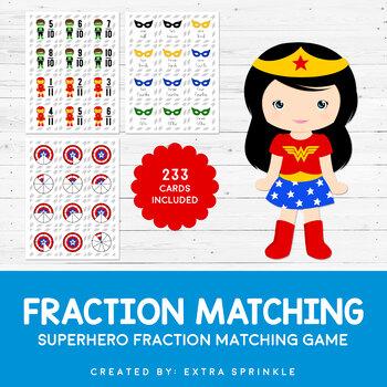 Superhero Fraction Matching Game