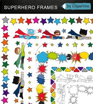 Superhero Frame Borders Clipart