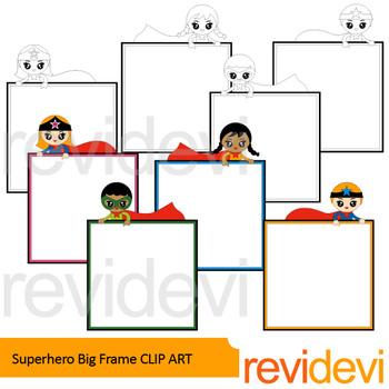Superhero Frame and Sign Clip Art Bundle / back to school borders