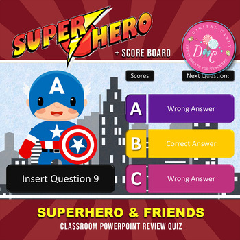 Superhero & Friends PowerPoint Classroom Review Quiz