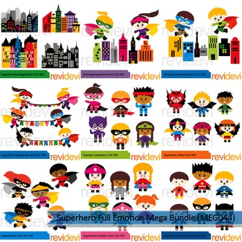Superhero Full Emotion clip art mega bundle (9 packs)