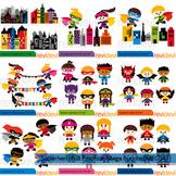 Superhero Full Emotion clip art mega bundle (9 packs)
