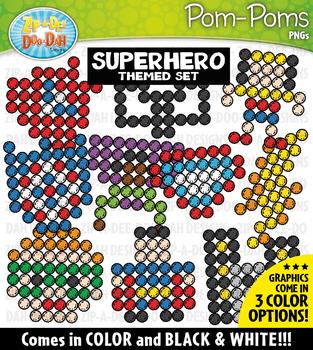 Superhero Fuzzy Pom-Poms Clipart {Zip-A-Dee-Doo-Dah Designs}