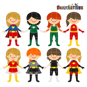 Superhero Gals Clip Art - Great for Art Class Projects!