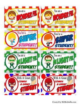 Superhero Gift Tags Party Favors