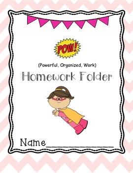 Superhero Girl Homework Folder cover
