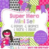 Digital Paper and Frame Mini Set Super Hero Girl