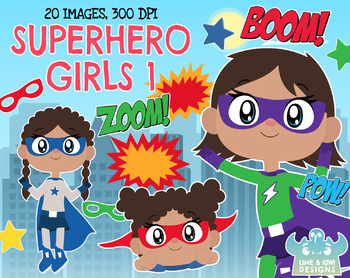 Superhero Girls 1 Clipart, Instant Download Vector Art, Commercial Use Clip Art