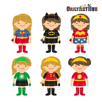 Superhero Girls Clip Art - Great for Art Class Projects!