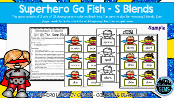 Superhero Go Fish - S Blends Game