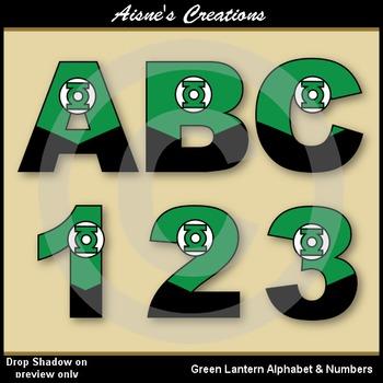 Superhero Green Lantern Alphabet & Numbers
