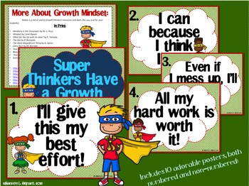 Superhero Growth Mindset Posters (Super Thinkers Have a Growth Mindset!)
