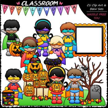 Superhero Halloween Kids - Clip Art & B&W Set