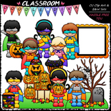 Superhero Halloween Kids - Clip Art & B&W Set