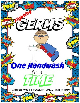 Superhero Handwashing Sign