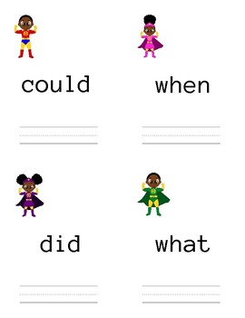 Superhero High Frequency Words List 3 Flash Cards