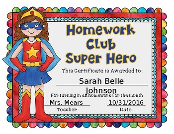Superhero Homework Award Sample Superhero Homework Award Sample