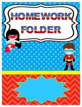Superhero Homework Folder Cover