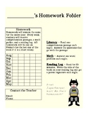 Superhero Homework Folder for the Year with Tracking