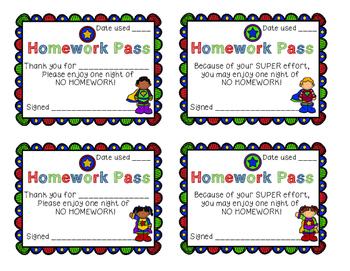 Superhero Homework Pass
