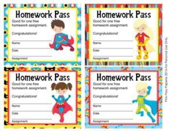 Superhero Homework Passes