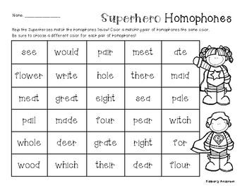Superheroes Homophones Practice